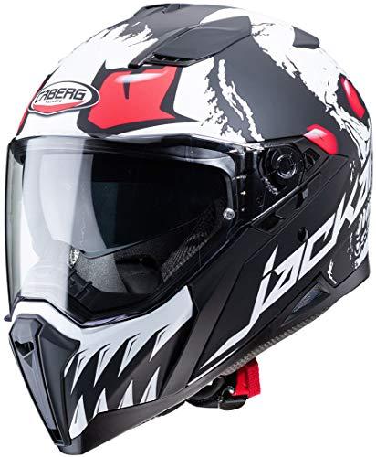 Caberg Unisex Jackal Darkside Motorradhelm, Mattschwarz/weiß/neonrot, XS