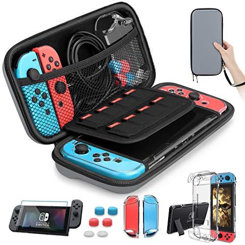 HEYSTOP Zubehör für Nintendo Switch Tasche mit Nintendo Switch Hülle Transparent Nintendo Switch Schutzfolie Daumen Kappen für Nintendo Switch Konsolen Zubehör