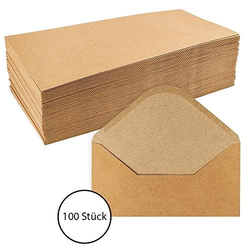 Kraftpapier Umschläge, 100 Stück | hohe Qualität: 110 g/m² | Briefumschläge, Kuvert, Briefkuvert, Briefhülle für Grußkarten, Einladung, Geburtstagskarten (DIN lang | 11 x 22 cm)