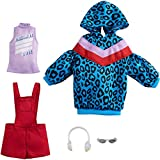Barbie Fashions 2-Pack Clothing Set, 2 Outfits Doll Include Animal-Print Hoodie Dress, Graphic Top, Red Overalls & 2 Accessories, Guft for Kids 3 to 8 Years Old