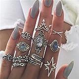 Ogquaton Anillos Vintage para Mujer Set Boho Apilamiento Anillos Crystal Finger Knuckle Midi Rings Regalos (11 Piezas) Duradero y útil