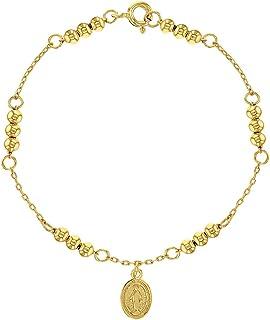 """925 Sterling Silver Charm Miraculous Virgin Medal Religious Bracelet Girls 6"""""""