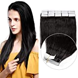 SEGO Extension Biadesivo Capelli Veri Adesive 20 Fasce Biadesive 50g Capelli Indiani Naturali Tape Extensions Remy Human Hair (55cm #1B Nero Naturale)
