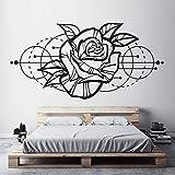 Etiqueta de la pared de la flor de rosa decoración bohemia geométrica moderna decoración del hogar sala de estar calcomanías de arte mural extraíble A3 57x28 cm