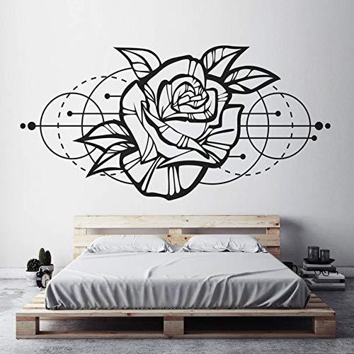 Etiqueta de la pared de la flor de rosa decoración bohemia geométrica moderna decoración del hogar sala de estar calcomanías de arte mural extraíble A5 84x42 cm