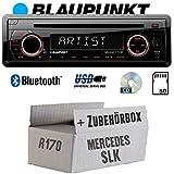 BLAUPUNKT Milano 170 BT - Bluetooth | CD | MP3 | SD | USB Autoradio Radio - Einbauset für Mercedes SLK R170 - JUST SOUND best choice for caraudio