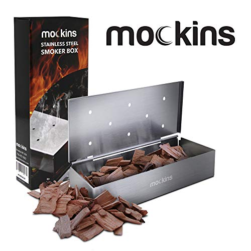 Mockins Stainless Steel BBQ Smoker Box for Grilling Barbecue Wood Chips On Gas Grill or Charcoal Grill  Grilling Accessories