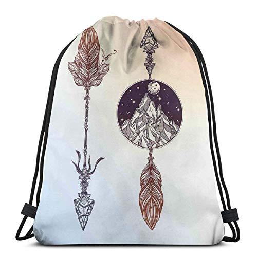 Odelia Palmer Gedruckte Kordelzug Rucksäcke Taschen, indianische Boho s mit Feder und Bergpfeil Ethnisches Design, verstellbare Schnurverschluss
