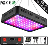 WAKYME 600W LED Plant Grow Light, Adjustable Full Spectrum Double...