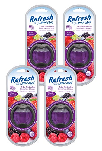 Refresh Your Car! 84015Z Scented Oil Diffuser, Mixed Berries, 4-Pack