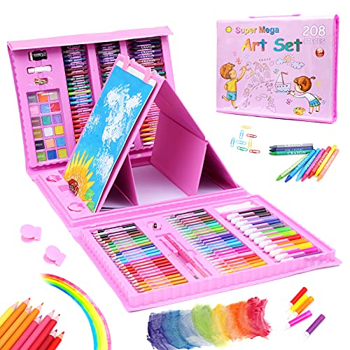 208 Pcs Art Set for Kids,Drawing Art Kits with Oil Pastels,Crayons,Colored Pencils,Paint Brush,Watercolor Cakes,Portable Coloring Art Supplies for Kids (dark pink)