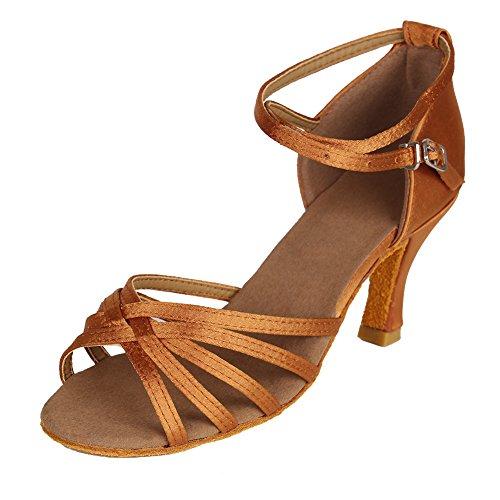 HIPPOSEUS Zapatos de Baile Latino para Mujer Zapatos de Baile de Salsa de salón de satén Tacón de 7 cm marrón,38 EU