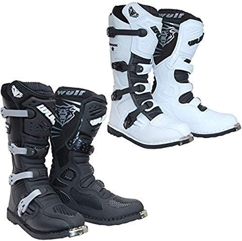 Wulfsport Trackstar MX Motorradstiefel für Erwachsene, Motorrad, Quad, ATV, Enduro, Offroad, Sport, Rennsport, Motocross-Stiefel, Schwarz, Weiß