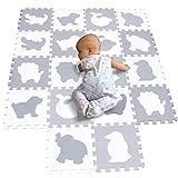 BUCHAQIAN Puzzlematte   Kälteschutz   abwaschbar   Kinderspielteppich Spielmatte Spielteppich Matte Schaumstoffmatte Kinderteppich Weiß Grau P051G301018BH