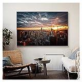 CBYLDDD New York City Sunset View Pinturas de Lona en el Arte de la Pared Pósteres y Estampados Skine of Manhattan Fall Pictures Decoración del hogar 24x32in Sin Marco