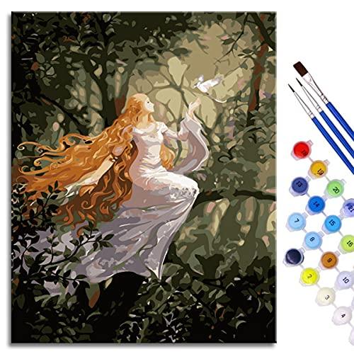 BOVIENCHE Pintura por números para Adultos y niños Kits de Regalo de Pintura al óleo DIY Elf Queen Lienzo de Lino Acrílico 50x40cm Sin Marco