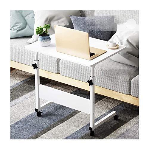 Mesa plegable Altura ajustable, adecuada para dormitorio y sala de estar Tabla de extremo portátil Tabla lateral Mesa de trabajo Mesa de trabajo móvil Mesa de regazo móvil, con ruedas, Color: Madera-8