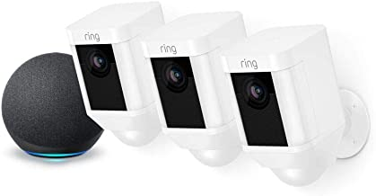 Ring Spotlight Cam Battery HD Security Camera - 3-Pack (White) and Echo Dot (4th Gen)
