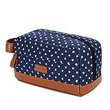 BAOSHA XS-01 Canvas Toiletry Bag Shaving Dopp Case Cosmetic Makeup Bag (Blue Dot)