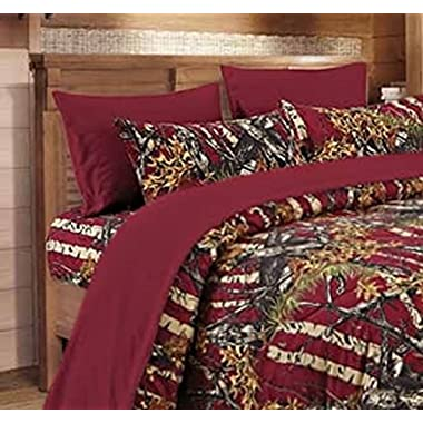 20 Lakes Microfiber 6 Piece Powder Blue Camo Rustic Bed Sheet Set & Pillowcases (Burgundy Red)
