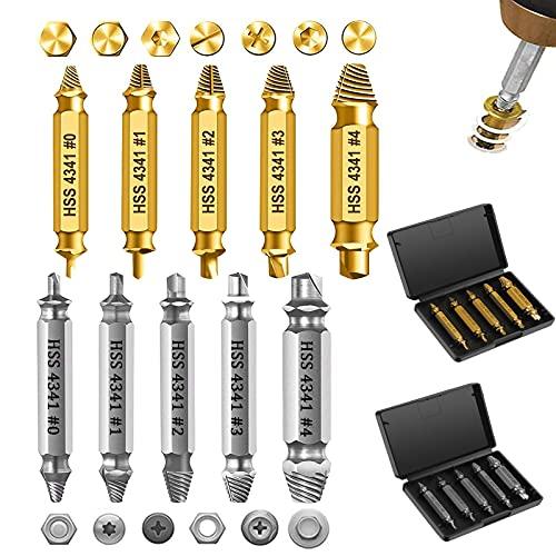 Juego de extractores de tornillos, 10 unidades, juego de extractores de tornillos dañados, para quitar tornillos ligeramente dañados, fabricado en HSS 4341 (plata y oro)