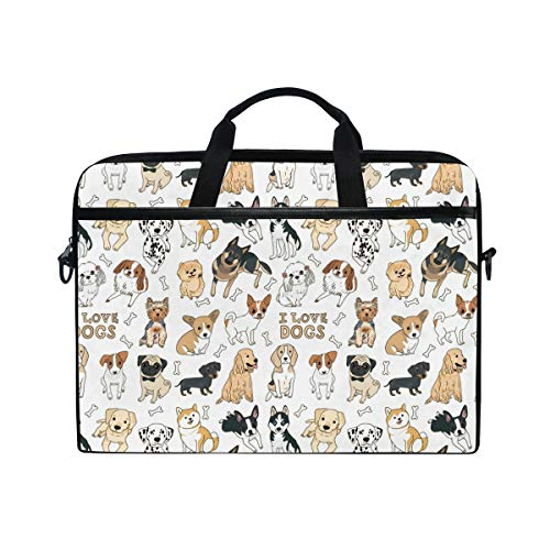 ALAZA Doodle Dog Pug Corgi Golden Retriever Husky Labrador Dachshund Laptop Case Bag Sleeve Portable/Crossbody Messenger Briefcase Convertible w/Strap Pocket 15-15.4 inch, Back to School Gifts