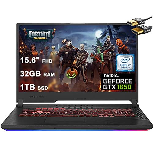 "2021 Flagship ASUS ROG Strix G 15 Gaming Laptop Computer 15.6"" FHD Display Intel Hexa-Core i7-9750H 32GB DDR4 1TB SSD 4GB GTX 1650 RGB Backlit WiFi HDMI Win 10 + iCarp Wireless Mouse"
