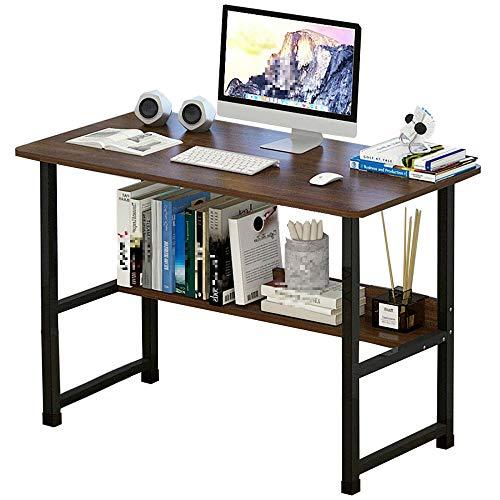 PN-Braes Escritorio de ordenador de pie simple y moderno escritorio de escritorio de dormitorio con tabla de almacenamiento, trabajo en casa y estudio