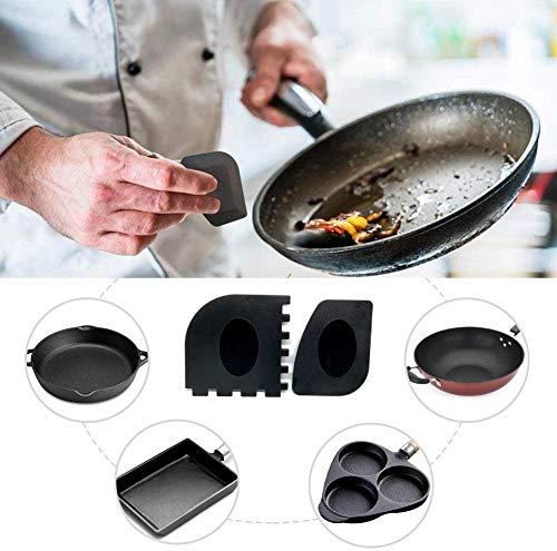 BestWayKitchen Kunststoff-Grill- und Pfannenschaber, schwarz, langlebig, Set für Gusseisen, 2 Stück