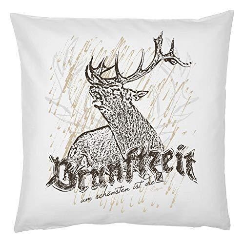 Kussen van echt leuk klederdracht-motief, decoratief sofakussen met vulling van Brunftzeit, voor Oktoberfest, sierkussen, cadeau-idee voor klederdrachtfan