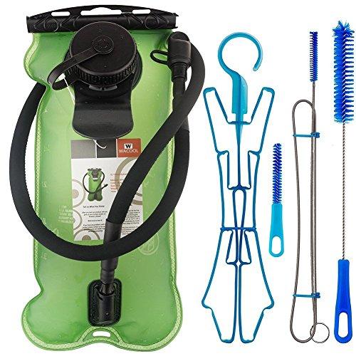 WACOOL 3L 3Liter 100oz BPA Free EVA Hydration Pack Bladder, Leak-Proof Water Reservoir (Green(Double Opening) with Clean Kit)