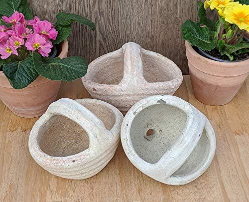 2. Wahl !! Aktion !! 3er Set Blumentöpfe Korb ca. 18 cm gewollt rustikal - echt Terrakotta, Blumentopf Garten Terracotta Deko