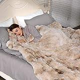 Lvylov Decorative Soft Fluffy Faux Fur Blanket Full/Queen Size 90' x 90',Beige,b