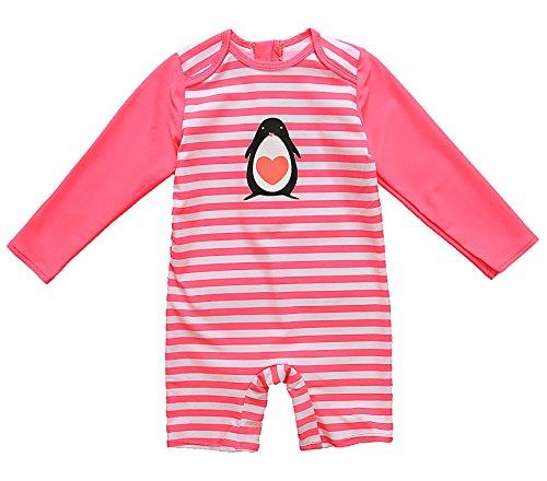 ALove Baby Girls One Piece Swimsuit Zipper Rash Guard Swimwear Sun Protection 18 Months