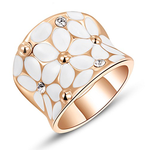 Fashion Month Womens Elegant White Enamel Flower Rose Gold Band Bloom Petal Wedding Engagement Ring Crystal Inlay Size 9