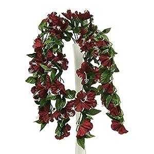 26″ Hibiscus BURGUNDY Hanging Bush Silk Flowers Wedding Bouquets Centerpieces