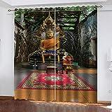 FOssIqU Cortina Opaca 3D 46x90inch Estatua de Buda de Oro Cortina de Orificio Redondo para Dormitorio Cortina súper Suave Cortina de reducción de Ruido para Sala de Estar / Oficina en casa, 2 Paneles