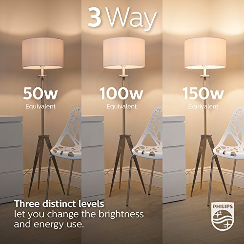 Philips LED 3-Way A21 Frosted Light Bulb: 1600-800-450-Lumen, 2700-Kelvin, 18-8-5-Watt (100-60-40-Watt Equivalent), E26D Base, Warm White, 4-Pack