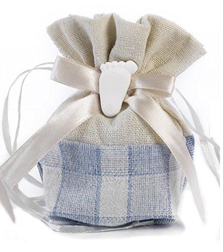 Mandorle by Paben 36 pz Sacchetti portaconfetti Bomboniera Nascita Battesimo Bambino con Applicazione Piedino Gesso