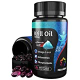 NutraBlast Krill Oil 1000mg with Astaxanthin, Omega 3-6-9, EPA & DHA, Phospholipids   Made in USA (60 Softgels)
