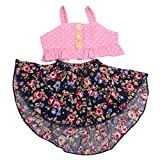 MagiDeal 2-TLG Puppenkleidung Party Sommer Outfit, Ärmellos Tops Weste + Blumenrock - Pink