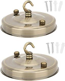 eecoo Soporte de lámpara E27 de 2 Piezas, Soporte de lámpara Retro Accesorios de Bricolaje con Gancho, Base de Placa Colgante de lámpara de Cristal, Anillo de Ojo de Placa de Techo(Bronce)