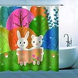 N\A Dibujos Animados Animal Cortina de Ducha Decoración Colorido Azul Naranja Rosa Verde Árboles Setas Conejo Oso Sentado en el Prado Libro de Lectura para niños Niños Poliéster Impermeable