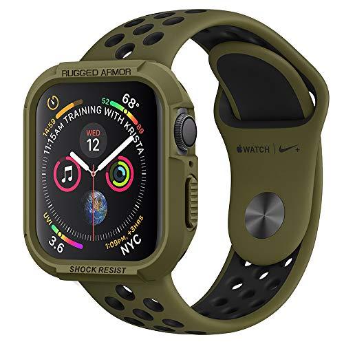 Spigen Rugged Armor Kompatibel mit Apple Watch Hülle für 44mm Serie 5 / Serie 4 - Olivgrün