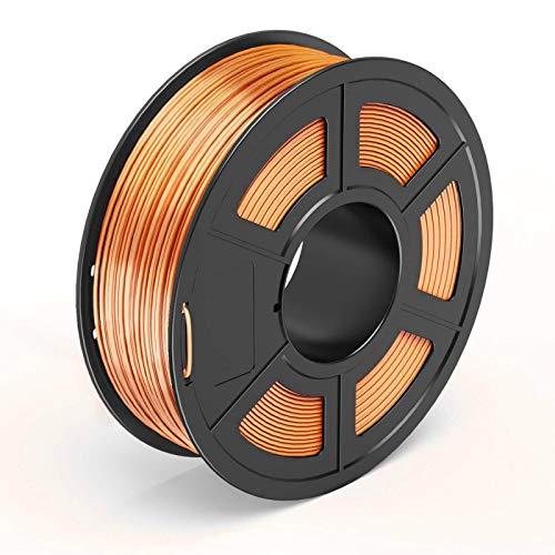 TECBEARS PLA 3D Filament Druckmaterialien Seide Kupfer 1.75, Dimensionale Genauigkeit +/- 0.02 mm, 1 Kg Spule, 1 Pack