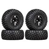 INJORA RC Wheel Set 4pcs RC Wheel Rim and RC Tires for 1:10 RC Short-Course Car TRAXXAS Slash VKAR 10SC (AX4006)