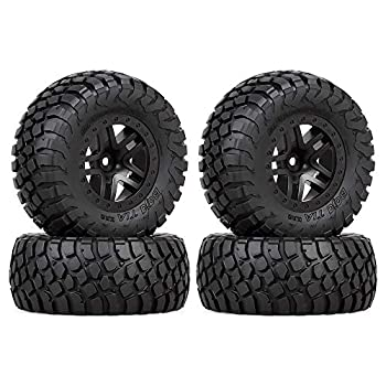 INJORA RC Wheel Set 4pcs RC Wheel Rim and RC Tires for 1 10 RC Short-Course Car Slash VKAR 10SC  AX4006