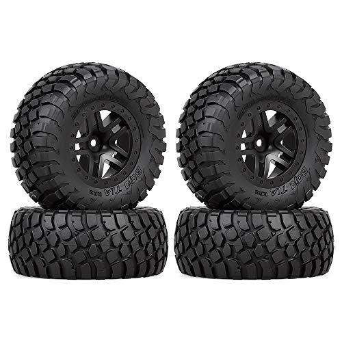 INJORA RC Wheel Set 4pcs RC Wheel Rim and RC Tires for 1:10 RC Short-Course Car TRAXXAS Slash VKAR 10SC (AX4006)