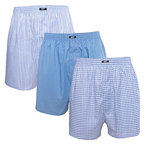 MT Herren Web Boxershorts (3er Pack) American Boxer gewebt aus Baumwolle - Blau L
