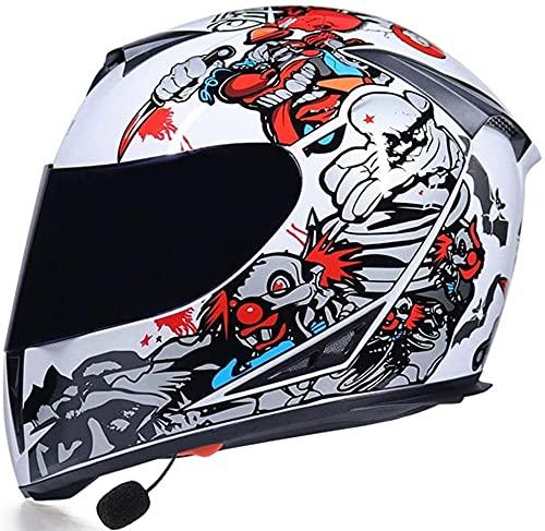 TKTTBD Cascos De Motocicleta con Bluetooth, Manos Libres con Contestador Automático Cascos Integrales Modulares para Motocicleta Casco De Doble Visera Aprobado ECE I,L